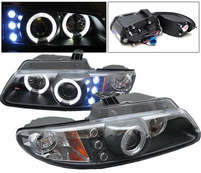 4 Car Option - Dodge Caravan 4 Car Option Halo Projector Headlights - Black - LP-DC96BB-YD