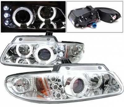 4 Car Option - Dodge Caravan 4 Car Option Halo Projector Headlights - Chrome - LP-DC96CB-YD