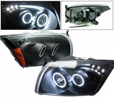4 Car Option - Dodge Caliber 4 Car Option CCFL Halo LED Projector Headlights - Black - LP-DCAB06BF-KS