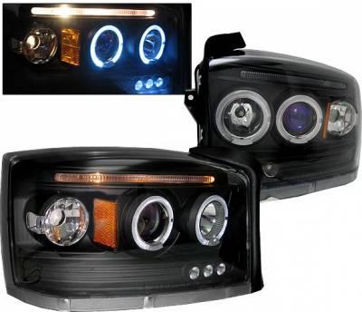 4 Car Option - Dodge Dakota 4 Car Option LED Halo Projector Headlights - Black - LP-DD05BB-5