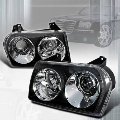 Custom Disco - Chrysler 300 Custom Disco Black Projector Headlights - LHP-300C05JM-TM