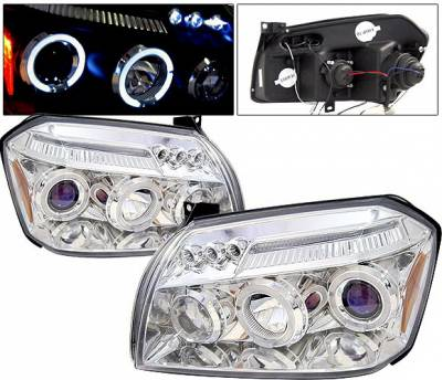 4 Car Option - Dodge Magnum 4 Car Option LED Dual Halo Projector Headlights - Chrome - LP-DGMAG05CC-5