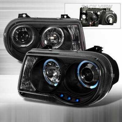 Custom Disco - Chrysler 300 Custom Disco Black Halo LED Projector Headlights - LHP-300C05JM-YD