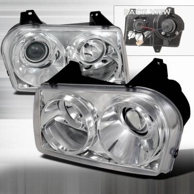 Custom Disco - Chrysler 300 Custom Disco Chrome Projector Headlights - LHP-300C05-TM