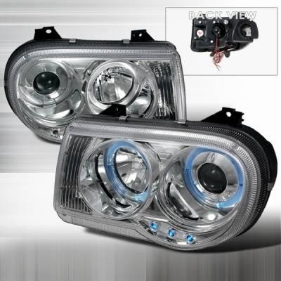 Custom Disco - Chrysler 300 Custom Disco Chrome Halo LED Projector Headlights - LHP-300C05-YD