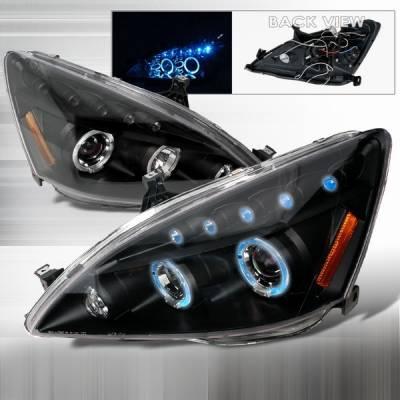 Custom Disco - Honda Accord Custom Disco Black Halo Projector Headlights - LHP-ACD03JMB-TM