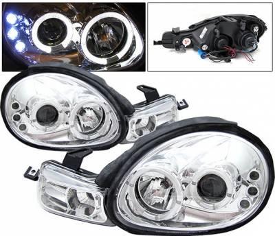 4 Car Option - Dodge Neon 4 Car Option LED Halo Projector Headlights - Chrome - LP-DN00CC-YD