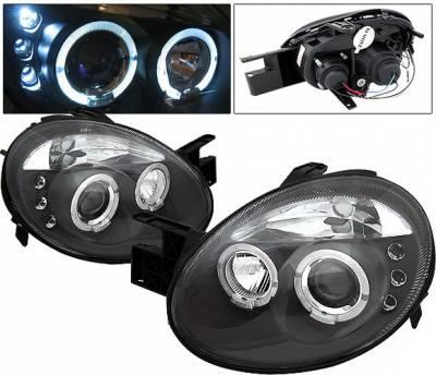 4 Car Option - Dodge Neon 4 Car Option LED Halo Projector Headlights - Black - LP-DN03BC-5