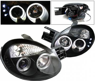 4 Car Option - Dodge Neon 4 Car Option LED Halo Projector Headlights - Black - LP-DN03BC-YD