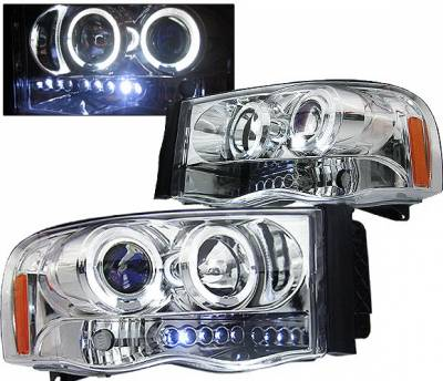 4 Car Option - Dodge Ram 4 Car Option Halo Projector Headlights - Chrome - 1PC - LP-DR02CB-5