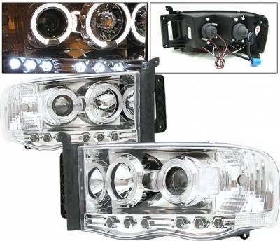 4 Car Option - Dodge Ram 4 Car Option Halo Projector Headlights - Chrome - 1PC - LP-DR02CB-YD