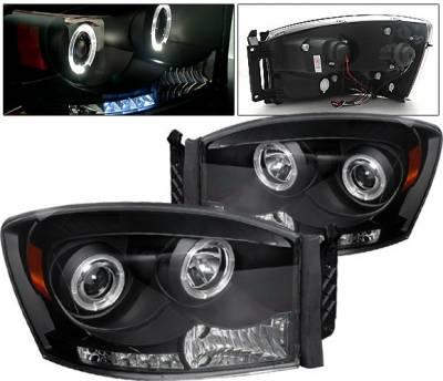 4 Car Option - Dodge Ram 4 Car Option Halo LED Projector Headlights - Black - 1PC - LP-DR06BC-YD