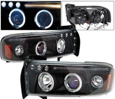4 Car Option - Dodge Ram 4 Car Option Halo Projector Headlights - Black - 1PC - LP-DR94BC-5