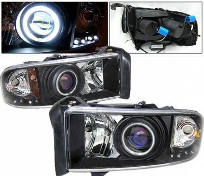 4 Car Option - Dodge Ram 4 Car Option Halo Projector Headlights - Black CCFL - LP-DR94BC-KS-CCFL