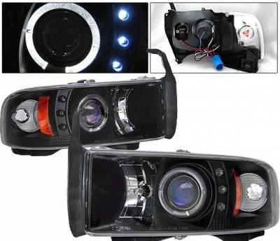 4 Car Option - Dodge Ram 4 Car Option Halo Projector Headlights - Black - 1PC - LP-DR94BC-YD