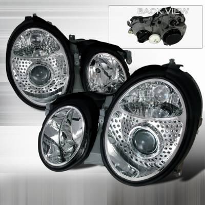 Custom Disco - Mercedes-Benz CLK Custom Disco Clear Euro Projector Headlights - LHP-BW20899-DP
