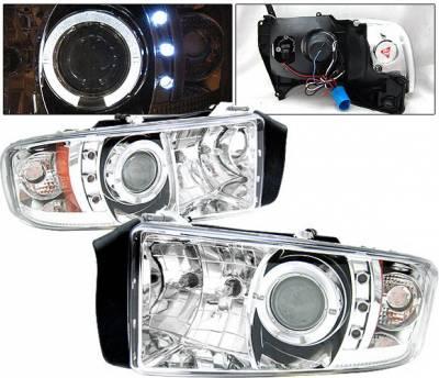 4 Car Option - Dodge Ram 4 Car Option Halo Projector Headlights - Chrome - 1PC - LP-DR94CC-YD
