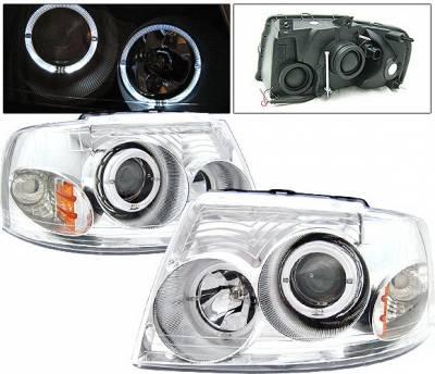 4 Car Option - Ford Expedition 4 Car Option Dual Halo Projector Headlights - Chrome - LP-FE03CC-KS