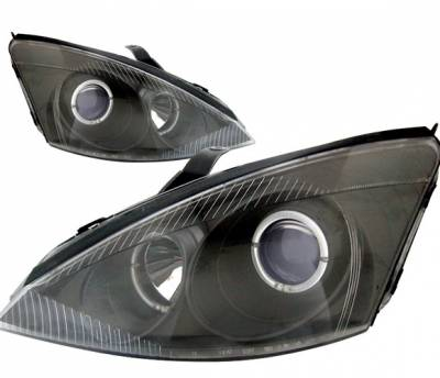 4 Car Option - Ford Focus 4 Car Option Dual Halo Projector Headlights - Black - LP-FF00BB-KS