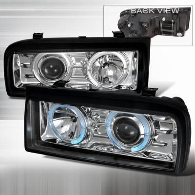 Custom Disco - Volkswagen Corrado Custom Disco Clear Halo Projector Headlights - LHP-CDO90-YD
