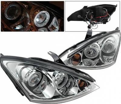 4 Car Option - Ford Focus 4 Car Option Dual Halo Projector Headlights - Chrome - LP-FF00CB