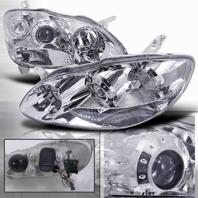 Custom Disco - Toyota Corolla Custom Disco Chrome Projector Headlights - LHP-C-OR03-DP