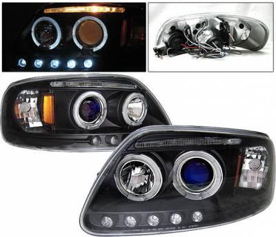 4 Car Option - Ford F150 4 Car Option LED Dual Halo Projector Headlights - Black - LP-FF150BB-5