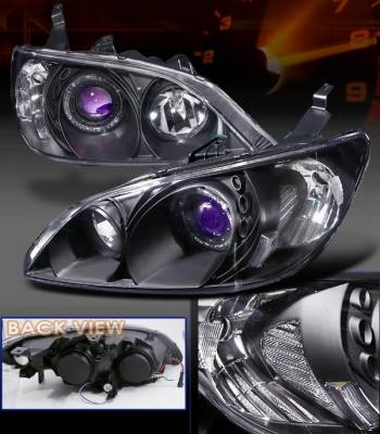 Custom Disco - Honda Civic Custom Disco Black Projector Headlights - LHP-CV04JMB-KS
