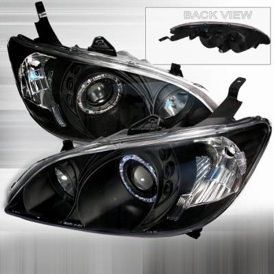 Custom Disco - Honda Civic Custom Disco Black Projector Headlights - LHP-CV04JM-KS