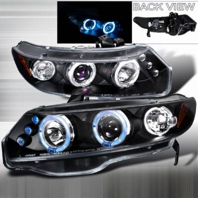 Custom Disco - Honda Civic 2DR Custom Disco Black JDM LED Halo Projector Headlights - LHP-CV062JM-TM