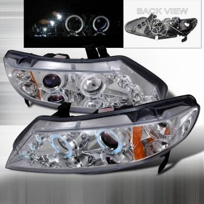 Custom Disco - Honda Civic 4DR Custom Disco Chrome Halo Projector Headlights - LHP-CV064-TM