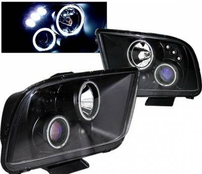 4 Car Option - Ford Mustang 4 Car Option LED Halo Projector Headlights - Black CCFL - LP-FM05BB-KS