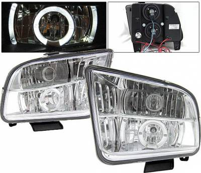 4 Car Option - Ford Mustang 4 Car Option LED Halo Projector Headlights - Chrome - LP-FM05CC-YD