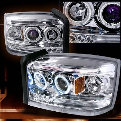 Custom Disco - Dodge Dakota Custom Disco Chrome Projector Headlights - LHP-DAK05B-TM