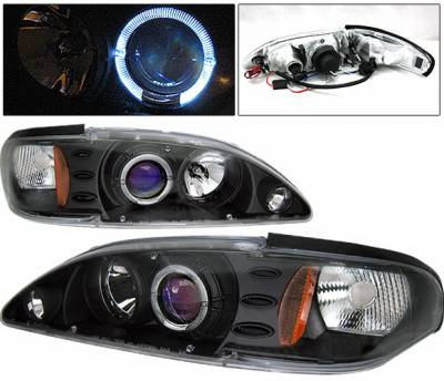 4 Car Option - Ford Mustang 4 Car Option Halo Projector Headlights Black - 1PC - LP-FM94BB-KS