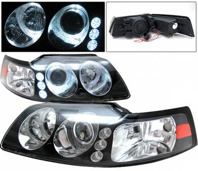 4 Car Option - Ford Mustang 4 Car Option Projector Headlights - Black - LP-FM99B-1-A