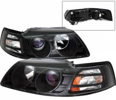 4 Car Option - Ford Mustang 4 Car Option Projector Headlights - Black - LP-FM99BB-KS