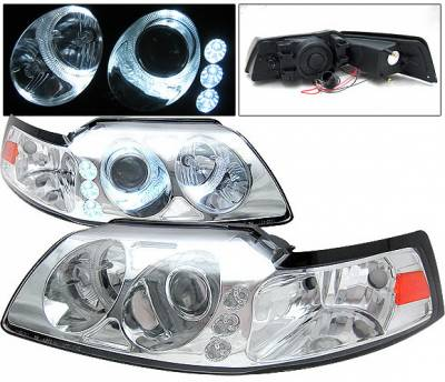4 Car Option - Ford Mustang 4 Car Option Projector Headlights - Chrome - LP-FM99C-1-A