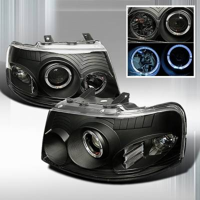 Custom Disco - Ford Expedition Custom Disco Black Halo Projector Headlights - LHP-EPED03JM-KS
