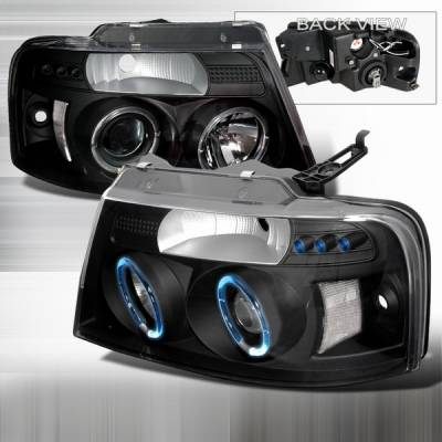 Custom Disco - Ford F150 Custom Disco Black Halo Projector Headlights - LHP-F15004JM