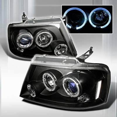 Custom Disco - Ford F150 Custom Disco Black Halo Projector Headlights - LHP-F15004JMB
