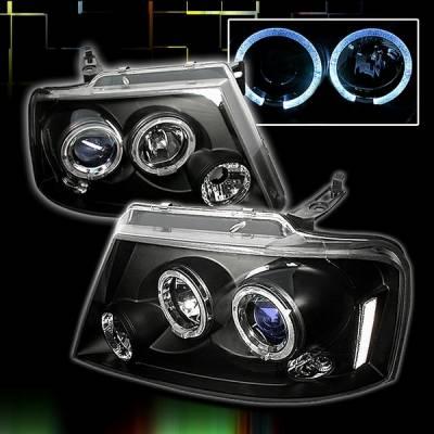 Custom Disco - Ford F150 Custom Disco Black Projector Headlights - LHP-F15004JMB-TM