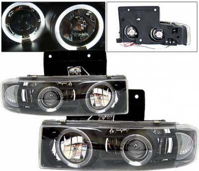 4 Car Option - GMC Safari 4 Car Option Halo Projector Headlights - Black & Clear - LP-GA85BC-YD