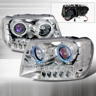 Custom Disco - Jeep Grand Cherokee Custom Disco Projector Headlights - LHP-GKEE99B-KS