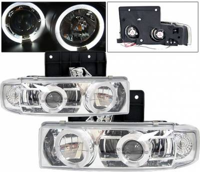 4 Car Option - GMC Safari 4 Car Option Halo Projector Headlights - Chrome & Clear - LP-GA85CC-YD