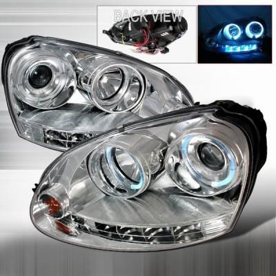 Custom Disco - Volkswagen Rabbit Custom Disco Chrome Halo LED Projector Headlights - LHP-GLF06-YD