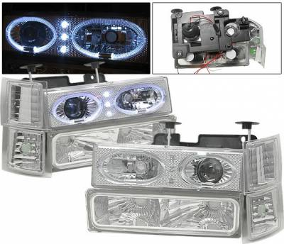 4 Car Option - Chevrolet C10 4 Car Option Halo Headlights - Chrome - 8PC - LP-GC88CR-6