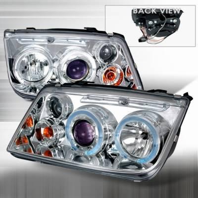 Custom Disco - Volkswagen Jetta Custom Disco Chrome & Blue Halo Projector Headlights - LHP-JET99B-YD