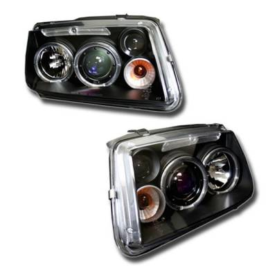 Custom Disco - Volkswagen Jetta Custom Disco Black & Blue Halo Projector Headlights - LHP-JET99JMB-YD