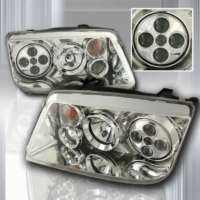 Custom Disco - Volkswagen Jetta Custom Disco Chrome Projector Headlights - LHP-JET99-OR